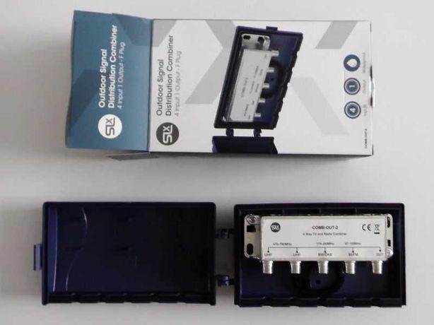 Rozdzielacz sumator sygnałów splitter 4 wejścia 1 wyjście TV radio