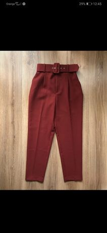 Spodnie garniturowe Zara bordowe