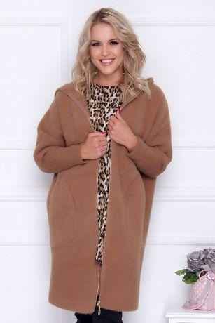 Elegancki płaszcz damski z alpaki z kapturem ciepły zasuwany