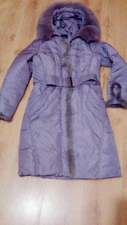 Пуховик женский 42 S сиреневый теплый