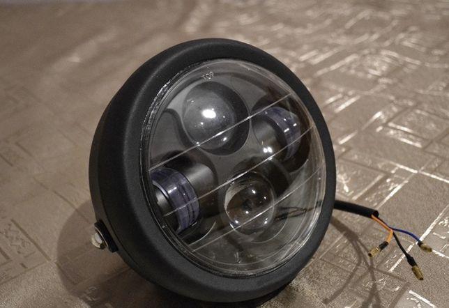 Кастом классическая круглая Led мото фара с подсветкой с решёткой доп