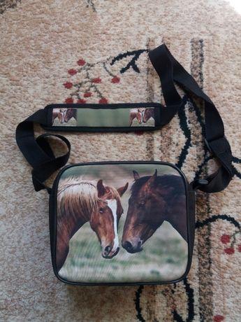 Materiałowa torebka z końmi