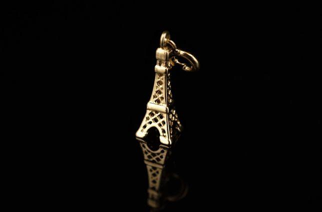 Złoto 585 - złota zawieszka charms Wieża Eiffla