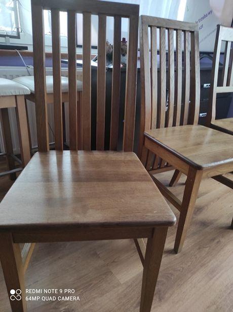 Solidne stabilne krzesła dębowe+hokery
