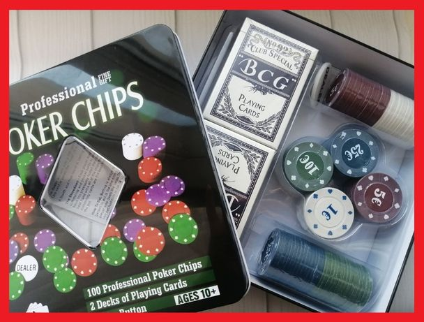 Набор для покера Poker Chips в металлической коробке 100 фишек