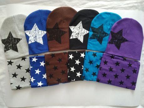 Детские трикотажные комплекты шапка и шарф снуд, хомут