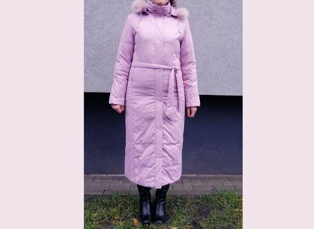 Пальто пуховик розовый зимний р-р 46