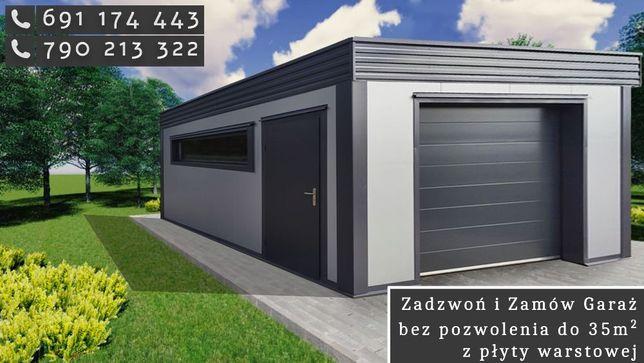 Garaże do 35m2 z płyty warstwowej BEZ Pozwolenia, lekkie konstrukcje