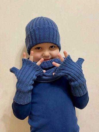 Комплект для хлопчика 5-6 рочків з мериносової шерсті шапка снуд