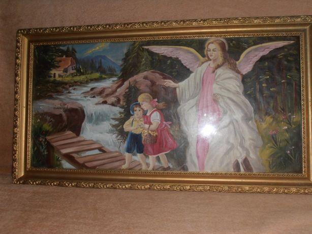 Stary obraz olej Anioł struż.