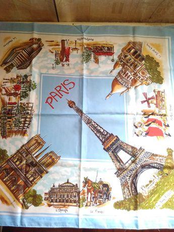 Винтажный коллекционный сувенирный платок Paris
