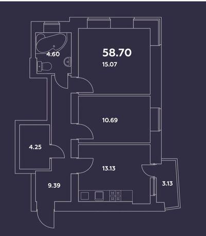 2-к квартира в ЖК Уютный квартал