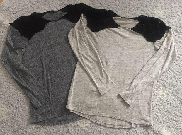 Zara W&B koronka melanż szara 2 sztuki 38 M bluzka