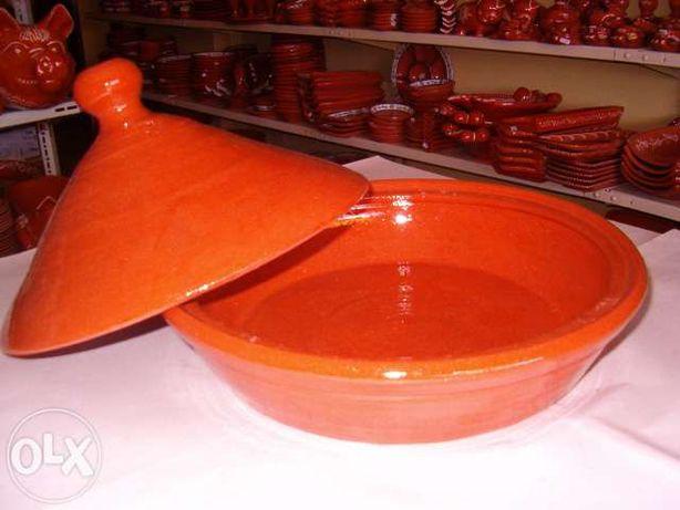 Tajine em Barro - Louça de barro vermelho vidrado