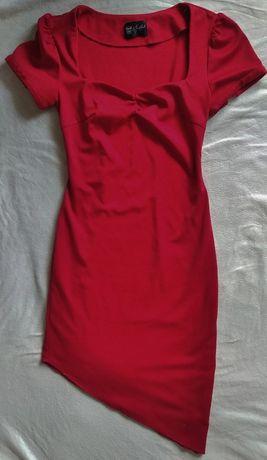 Sukienka czerwona asymetryczna hiszpanka 38