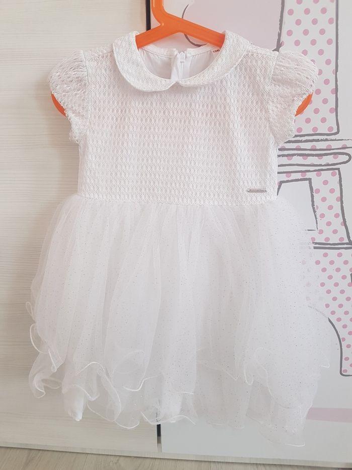 Piękna biała sukienka tiul falbanki brokat cocodrillo Rogoźno - image 1