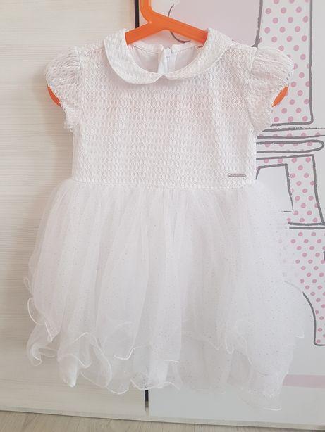 Piękna biała sukienka tiul falbanki brokat cocodrillo