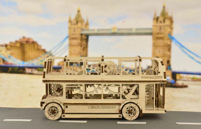 Drewniany londyński autobus - model do składania