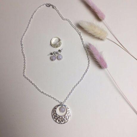 Бижутерия набор, Серьги с розовым кварцем, Кольцо, Подвеска с кварцем