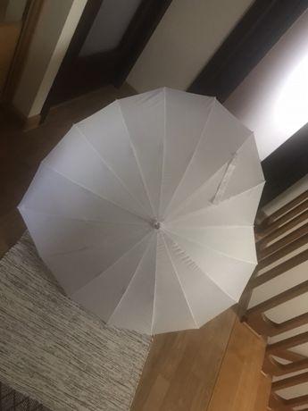 Parasolka do ślubu białe serce 1.2m średnicy