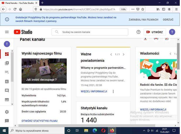Kanał YouTube - WŁĄCZONE ZARABIANIE monetyzacja 1490 zł