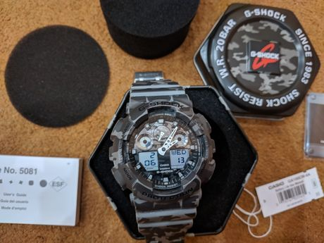 Часы Casio G-Shock GA-100CM-8A Серый камуфляж