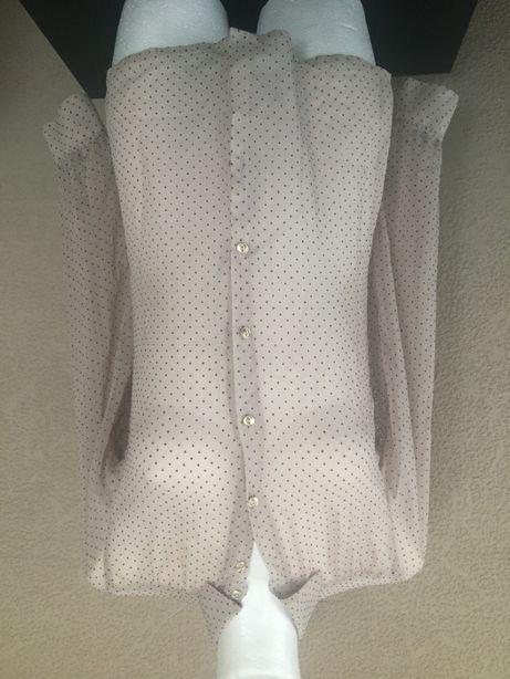 koszulka damska w grochy kropki beżowa elegancka zara rozm 36 S
