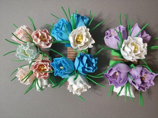 Цветы колокольчики на резиночках ручной работы. Резинки для волос