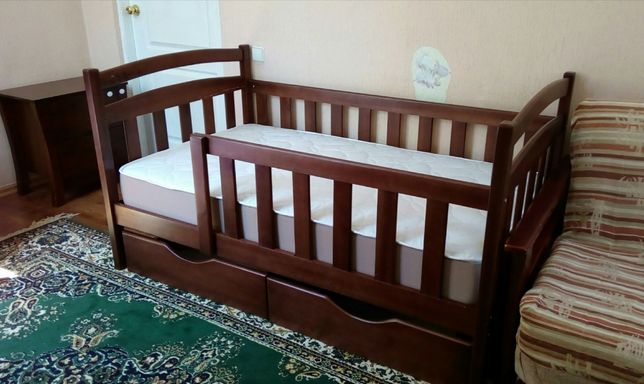 Детская кровать кроватка с ящиками, с дерева новая, купить мебель