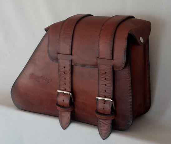 Alforge/mala artesanal em pele italiana encerada vintage para moto