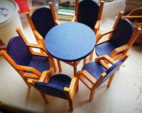 Мебель для кукол. Набор мебели для Барби. Стулья и стол для барби