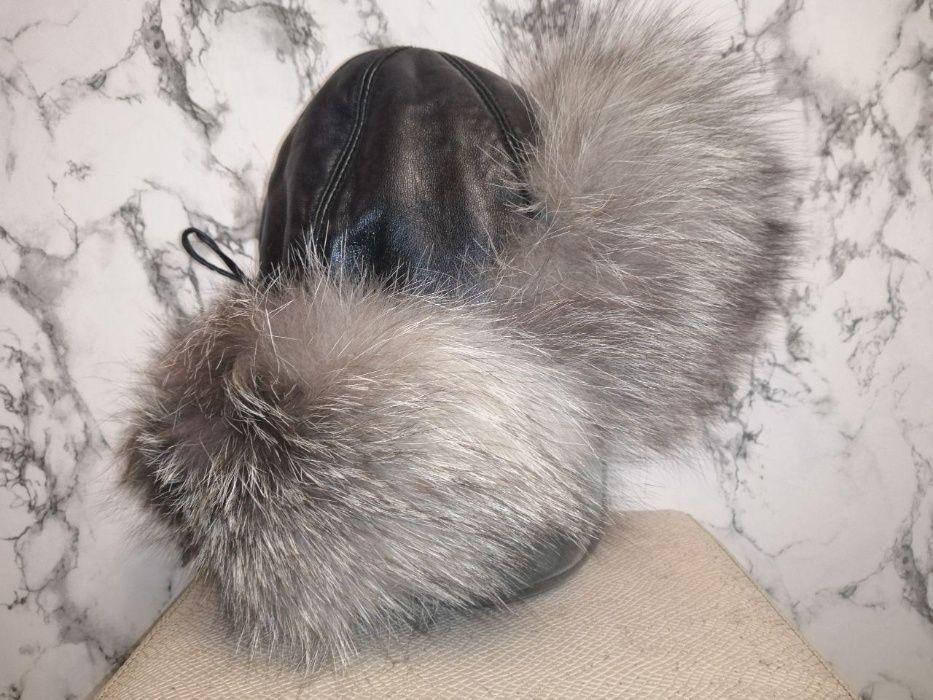Кожаная шапка с натуральным мехом чернобурки Харьков - изображение 1