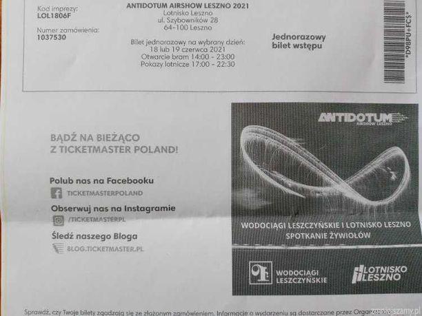 Bilety - ANTIDOTUM AIRSHOW Leszno 2021. 18-19 VI 2021.