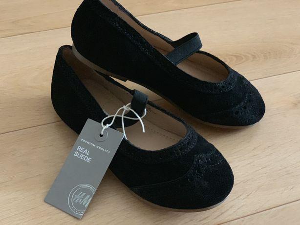 Туфли на девочку замш/кожа натур 17,5 стелька новые чёрные