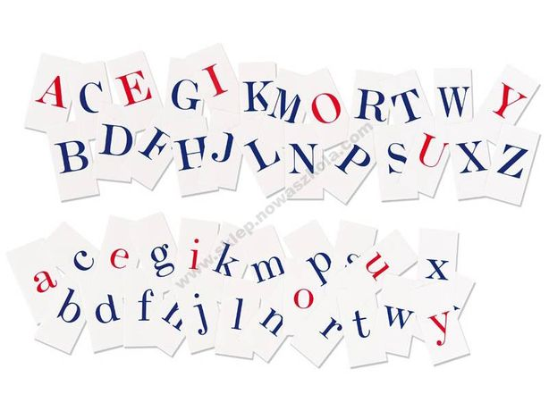 Alfabet, nowa szkoła, litery drukowane