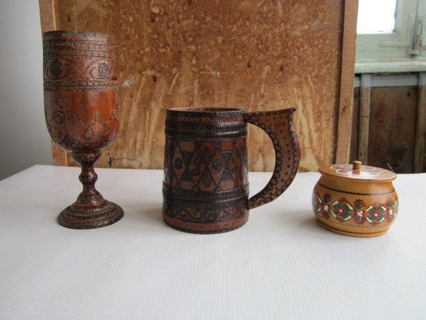 Деревянные бокалы, доски кухня, солонка (СССР)