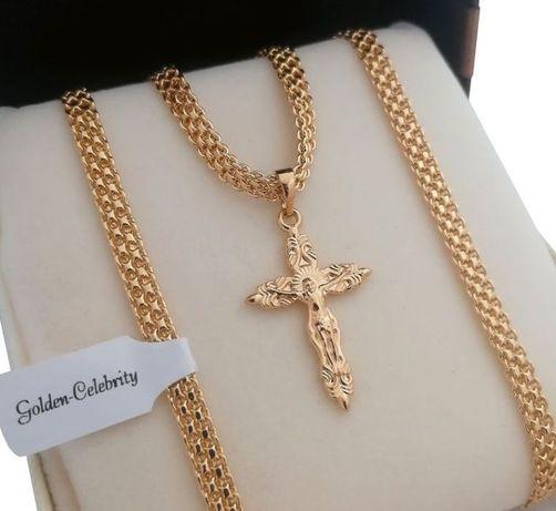 Złoty łańcuszek bismark 60cm + krzyż 18 karatów GWARANCJA PREZENT