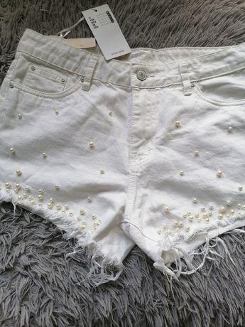 Spodenki szorty biała z perłami jeans ML