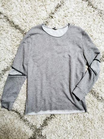 Szary rockowy sweter oversize h&m xl zamki grunge rock bluza meski