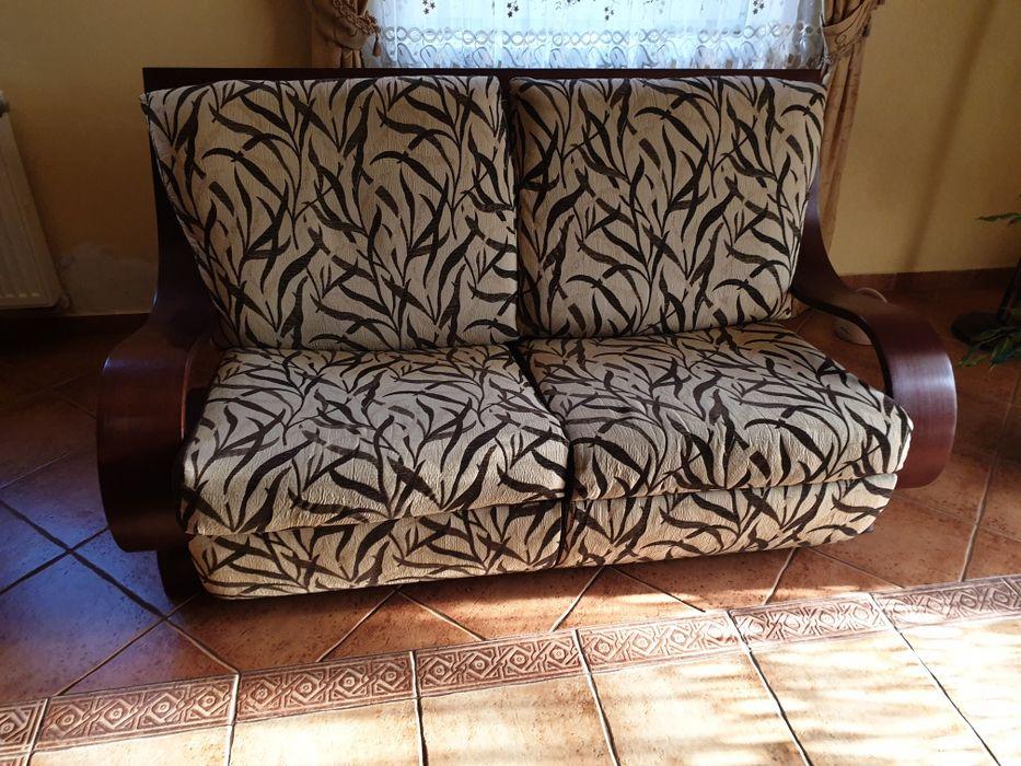 Hit! Sofa z funkcją spania z dodatkami litego drewna Łapanów - image 1
