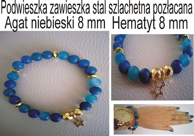 Bransoletka niebieski agat/złoty hematyt 8mm stal chirurgiczna-pozłaca
