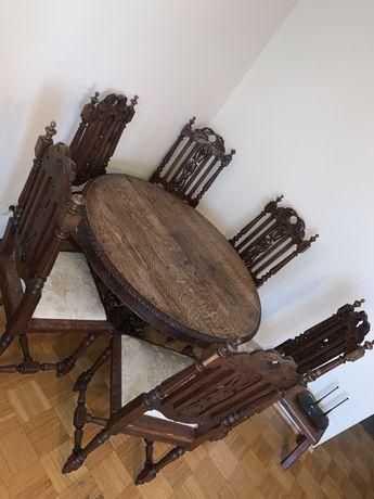 Stół dębowy z krzesłami rozkładany 1850 rok