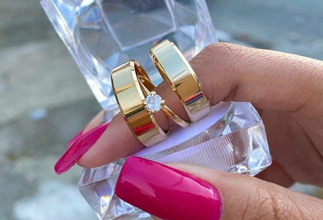 Piękna Para Fazowanych Złotych Obrączek Ślubnych