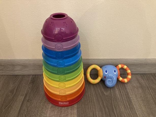 Okrągłe miseczki do składania Fisher Price (wieża, kule) + słoń gratis