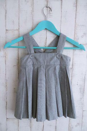 Sukienka - serafan ze srebrną nitką - na szelkach - HM - roz - 92