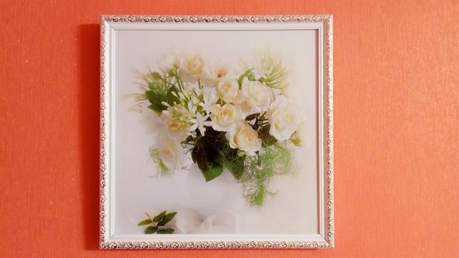 НОВАЯ картина ЛУИЗА ГЕЛЬТС белозолотая рама Натюрморт Белые Цветы РОЗЫ