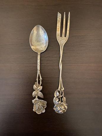 Набор.Кофейная ложка серебряная.Десертная вилка серебряная.Роза.