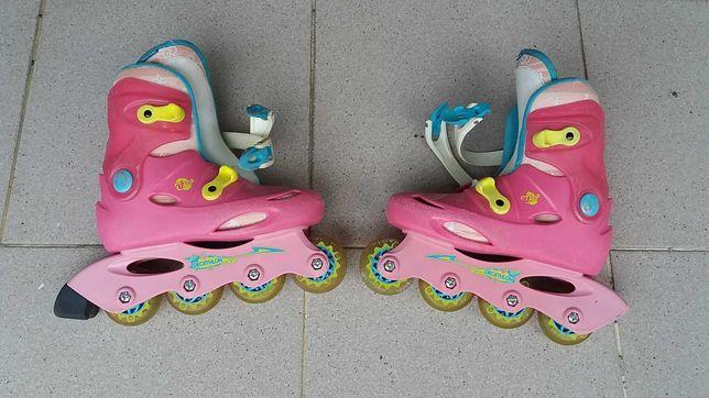 Patins em linha usados para menina, tamanho 32
