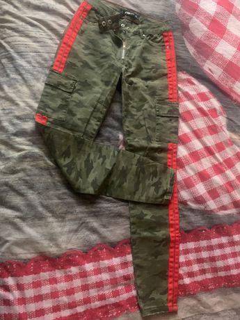Spodnie damskie moro z lampasami xs
