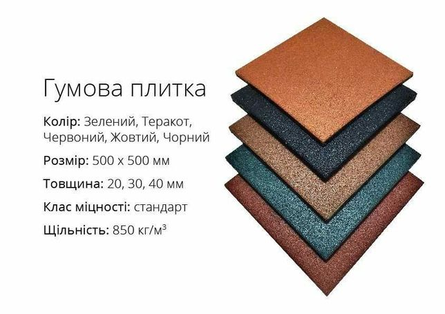 Резинова плитка від виробника | Роздріб, ОПТ, Монтаж